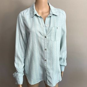 Paige trista button down shirt blue white Sz M